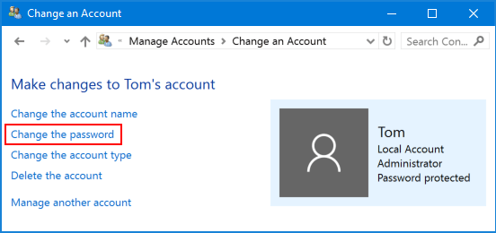 How to Change Another Users Password in Windows 10