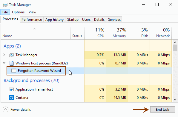 How to close forgotten password wizard task if it not working