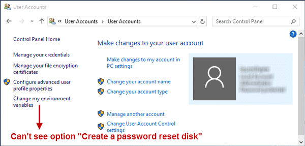 No option for creating a password reset disk