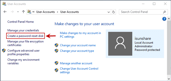 Windows 10 Create a password reset disk link not working